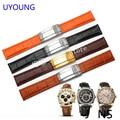 UYOUNG Качество черный | orange Натуральная Кожа watchband19mm 20 мм для мужские часы Кожаный браслет