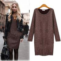 Coffee Black Color Women Dress Autumn O Neck Long Sleeve Loose Knitted Dress M L XL