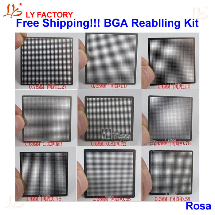 10pcs Direct Heat Reballing Stencils + 7 pcs Solder Balls + Reballing Station Stencil Holder BGA Reballing Kit for xbox bga reball reballing stencil heat direct kit with suction pen