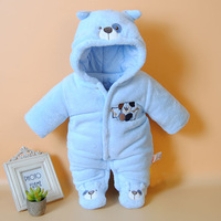 2016 Newborn Baby Rompers Cartoon Hooded Winter Baby Clothing Thick Cotton Baby Girls Outfits Baby Boys