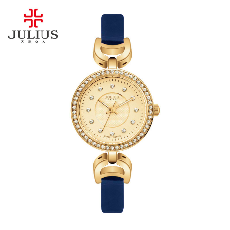 JULIUS Watches Clock Quartz Wristwatches Relogio Feminino Women Alloy Buckle Round Leather Stainless Steel Saat with Watch Box julius quartz watch ladies bracelet watches relogio feminino erkek kol saati dress stainless steel alloy silver black blue pink