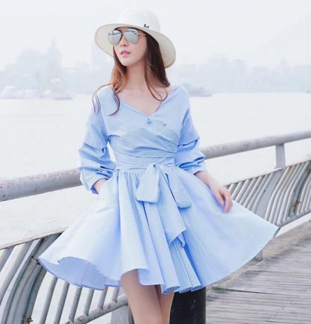 Free Shipping 2016 The New Listing Fashion V Crystal V Collar Large Bow Tie Stripe Dress