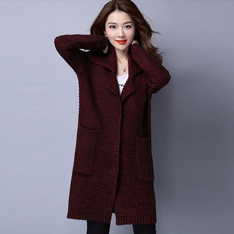 Chandail d'extérieur pour femmes 2019 nouveau hiver femme moyen-long cardigan épais à manches longues automne lâche maman tricoté manteau - 3