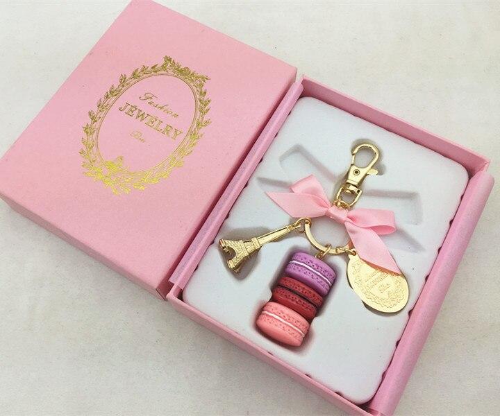 Macaron Eiffelturm anhänger schlüssel ketten für frauen mädchen gold farbe legierung bowknot tasche charme auto keychain schlüssel ring mit geschenk box