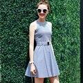 Женская мода Dress Vintage Мини Лето Dress 2017 Vestidos Office Dress A-Line Тонкий Сарафан Boho Повседневная Dress