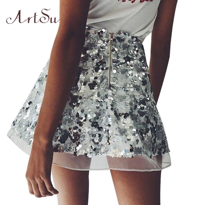 como escoger comprar baratas en venta € 10.55 43% de DESCUENTO|Mini faldas de malla de lentejuelas doradas ArtSu  para mujer falda de cintura alta elegante de Navidad con cremallera Casual  ...