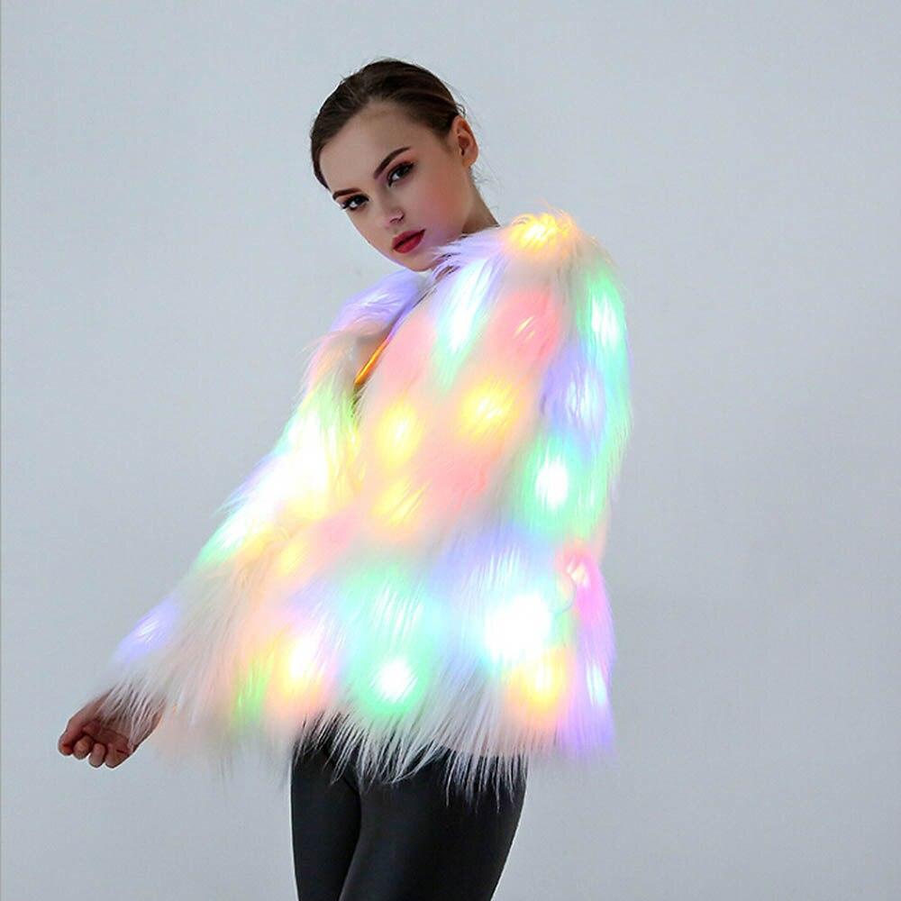 LED Light Fur Coat Women Rainbow Sparkly Light Up Jacket White Furry Costume Christmas Costumes Cosplay Fluffy Fur Jacket