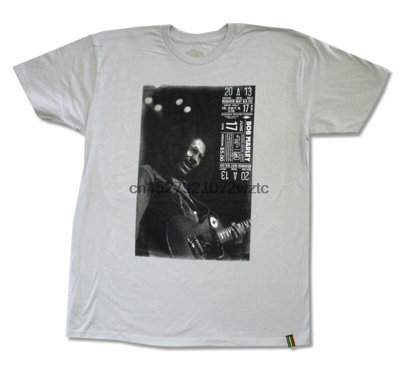 Amicable Bob Marley Msg Ticket Grey T-shirt New Adult Reggae Band Rasta Music Reliable Performance