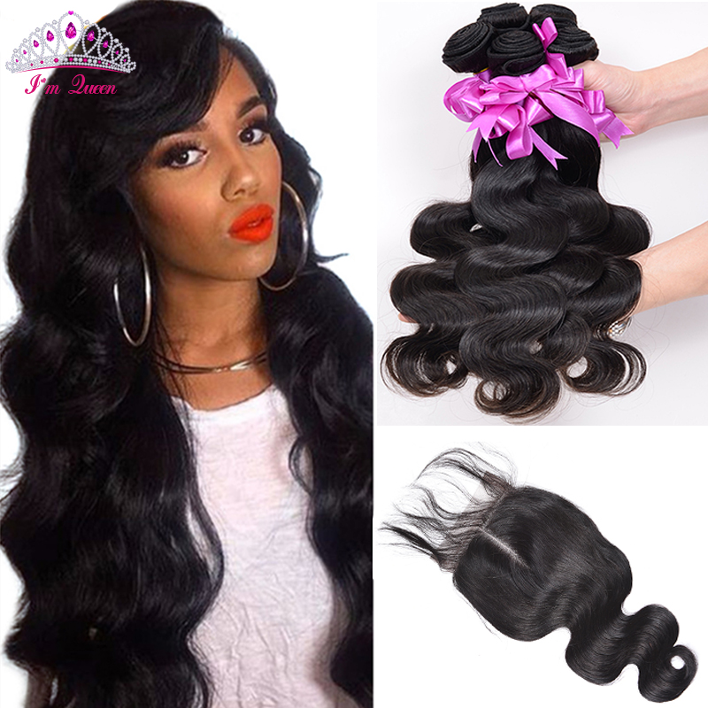 Malaysian Virgin Hair Body Wave With Baby Closure 3 Bundles Human Virgin Hair With Closure Malaysian Body Wave With Closure