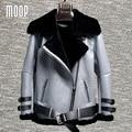 6 Colores sólidos chaquetas de las mujeres abrigos de invierno de lana de cordero forrada de piel de oveja de cuero genuino chaqueta de la motocicleta en cuir veste femme LT1108
