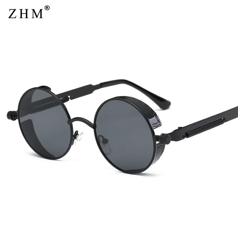 fea24f8c1 2019 De Metal Steampunk Moda Óculos Redondos Óculos de Sol Das Mulheres Dos  Homens de Design Da Marca óculos de Sol Do Vintage de Alta Qualidade UV400  ...