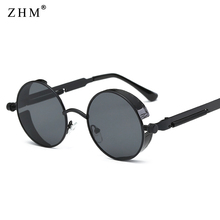 2019 Metal Steampunk Sunglasses Men Women Fashion Round Glasses Brand