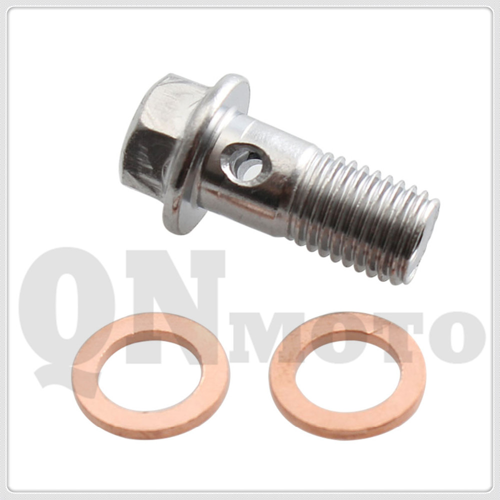 Long 22mm Sliver M10 x 1.25 Banjo Bolt W/ Copper Crush Brake Master Cylinders Calip For H O N D A /Kawasaki/Y A M A H A