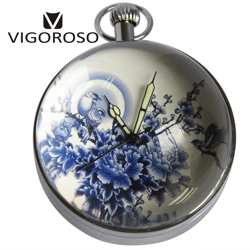 Antique Luxury Desk Table Clocks Big Ball Magnifying Glass Skeleton Back Wind up Mechanical Pocket Watch Retro Vintage Watches