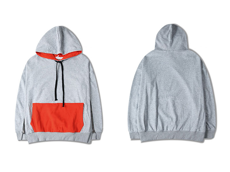 Zipper Sleeve Color Block Hoodies 1