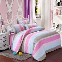 Simple pink blue stripe Print Bedding Set Duvet Cover bed skirt soft Pillowcase Single Double Queen Twin Size
