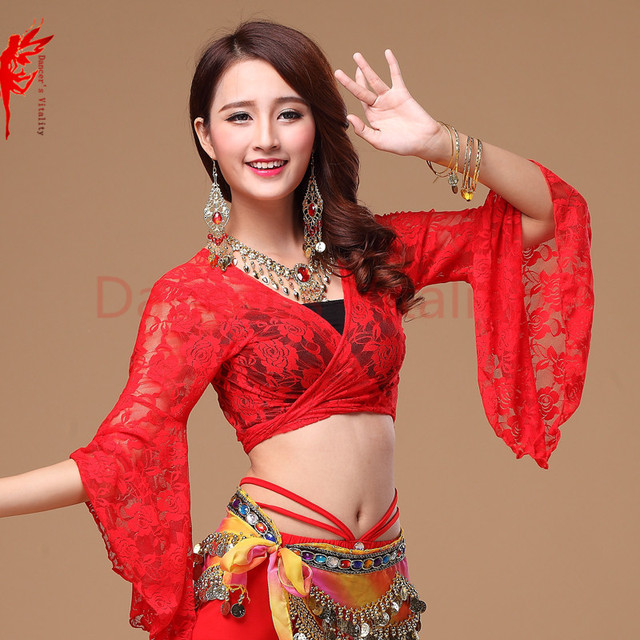c9648b8b1ec 13 colors belly dance top women deep v-neck flare sleeve top girls belly  dance sexy lace top