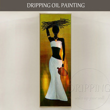 Handmade High Quality Modern Abstract African Woman Hold Something on the Head Art Wall Painting Pictures