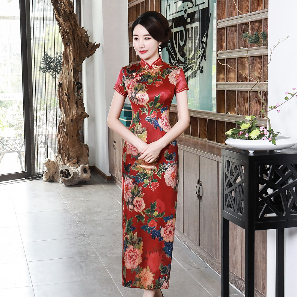 Large Size 3XL 4XL Elegant Lady Cheongsam Red Evening Party Gown Rayon Vintage Qipao Print Flower Long Women Chinese Dress S-68