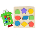 BOHS Wooden Geometry Shape  Colour Learning Board and  Clothes Dress Up Fine Motor Skill Training Board, 2pcs/Set