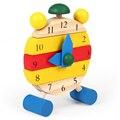 1 Pc Do Bebê Dos Miúdos Montessori Cor Cognitivo Digitais Relógio DIY Modelo De Madeira Aprendizagem Precoce Educacional Building Block Brinquedos Presentes