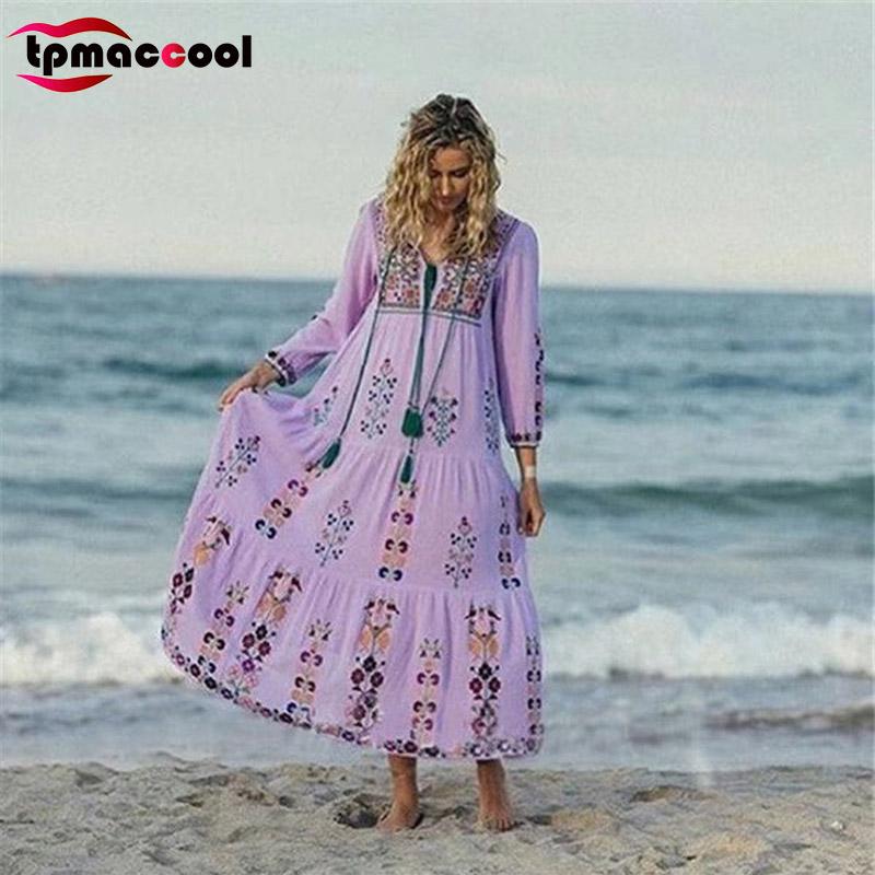 tpmaccool occident moda mujeres vintage vestido mexicano hippie boho tnico floral bordado cuello en v profundo