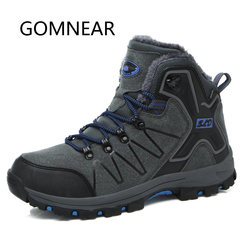 GOMNEAR Mens Winter Sneakers Warm Hunting Trekking Boots Waterproof Winter Hiking Shoes Woman Snow Boots Mountain Climbing Shoes
