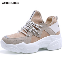 Купить с кэшбэком Harajuku 2019 New Spring Autumn Casual Shoes Women Sneakers Thick Heels High Platform Shoes Fashion Lace-Up zapatos de mujer