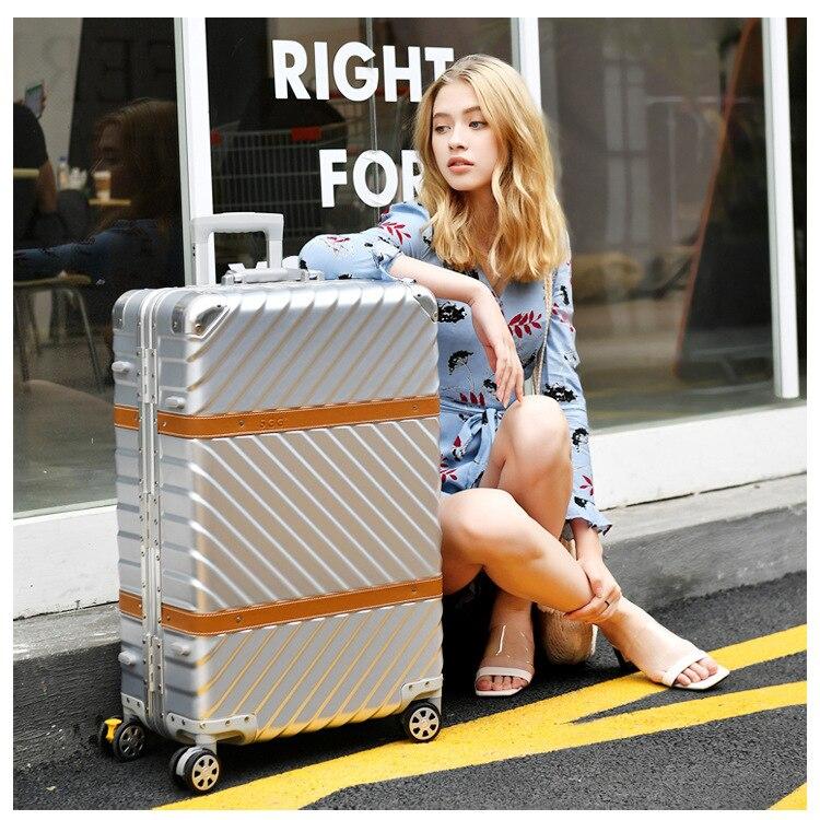 Vintage Leather Travel Trolley Luggage Suitcase PC Aluminum Frame With TSA Lock Hardside Rolling Luggage Suitcase With Wheels