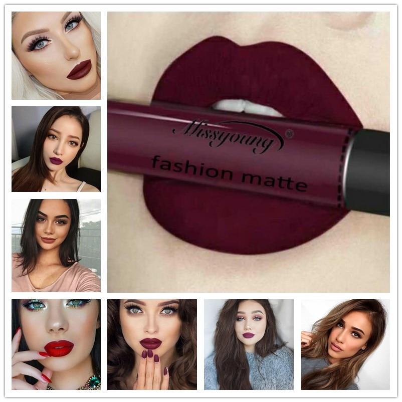 Miss Young Waterproof Nude Lipstick Mate Long Lasting Liquid Matte Lipstick Cosmetics Long Lasting Lip Gloss Sexy Makeup Lips