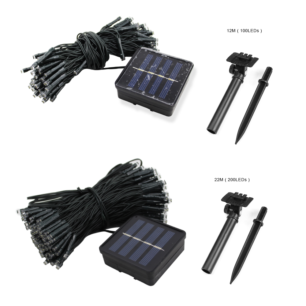 22m Solar Christmas String Lights Outdoor Waterproof Street Garland 200 Led Solar Battery Fairy Lights Party For Home Decoration