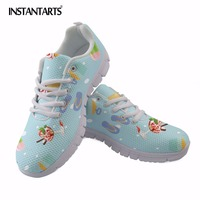 INSTANTARTS Women Breathable Mesh Running Shoes Ice Cream Printing Outdoor Sport Shoes Girls Summer Comfort Trainer Walking Shoe