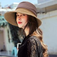 Women Hats Summer 2019 Elegant Casual Fashion Hand Made Straw Sun Cap Decorative Straps Sunscreen UV Wide Beach Hat Seaside