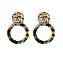 Leopard Acrylic Earrings for Women Vintage Tortoiseshell Resin Earring Round Acetate Drop Boho Jewelry Pendientes Resina