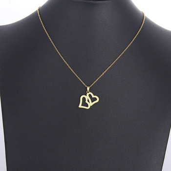 Lover S Double Heart Gold And Silver Color Pendant Necklace