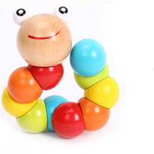 Kids Cute Insert Puzzle Educational Wooden Toys Baby Children Fingers Flexible Training Science Twisting Worm Toy