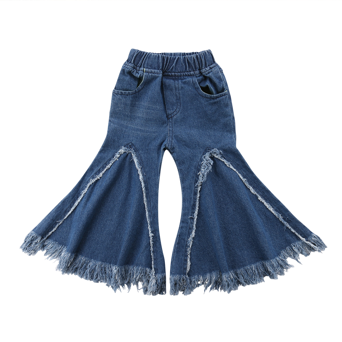 776234bc94 Baby Girls Jeans Trousers Kids Toddler Casual Wide Leg Denim Blue Pants  Bottoms