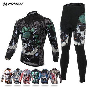 Skeleton Soldier Spring Autumn Long Sleeve Elastic Fabric Quick Dry Ciclismo Mans Cycling Jersey Sets GEL Pad Bicycle Clothing