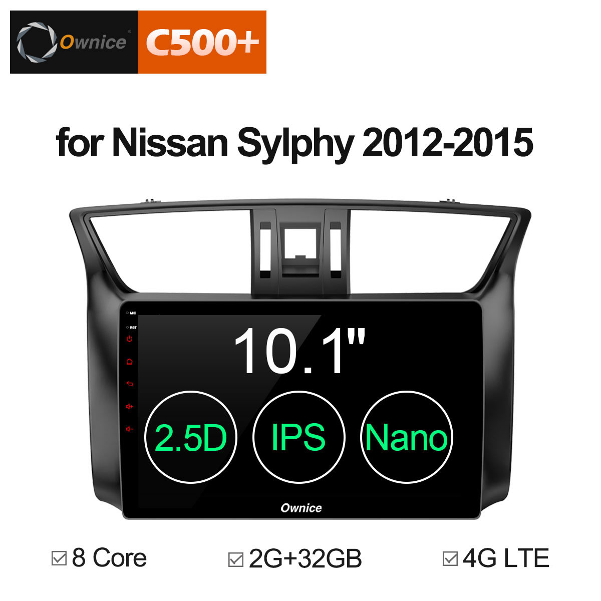 Ownice C500+ G10 Android 8.1 Octa Core Car DVD GPS Navigation Player Car Stereo for Nissan Sylphy 2012 - 2015 2G/32G 4G LTE ownice c500 octa core 10 1 android gps car radio multimedia player 2g 32g for skoda octavia 2014 2015 2016 2017 dvd 4g lte pc