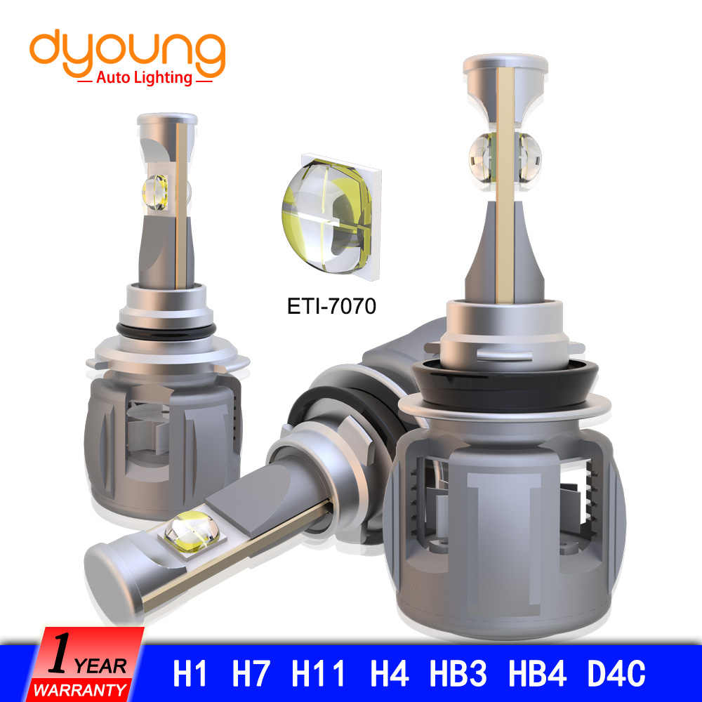 Dyoung 2pcs LED headlight 120w 12000lm H7 Led lamp D2 H1 H11 H4 H13 9004 9005 9006 9007 9012 Lens Chips X70 Car LED Lamp