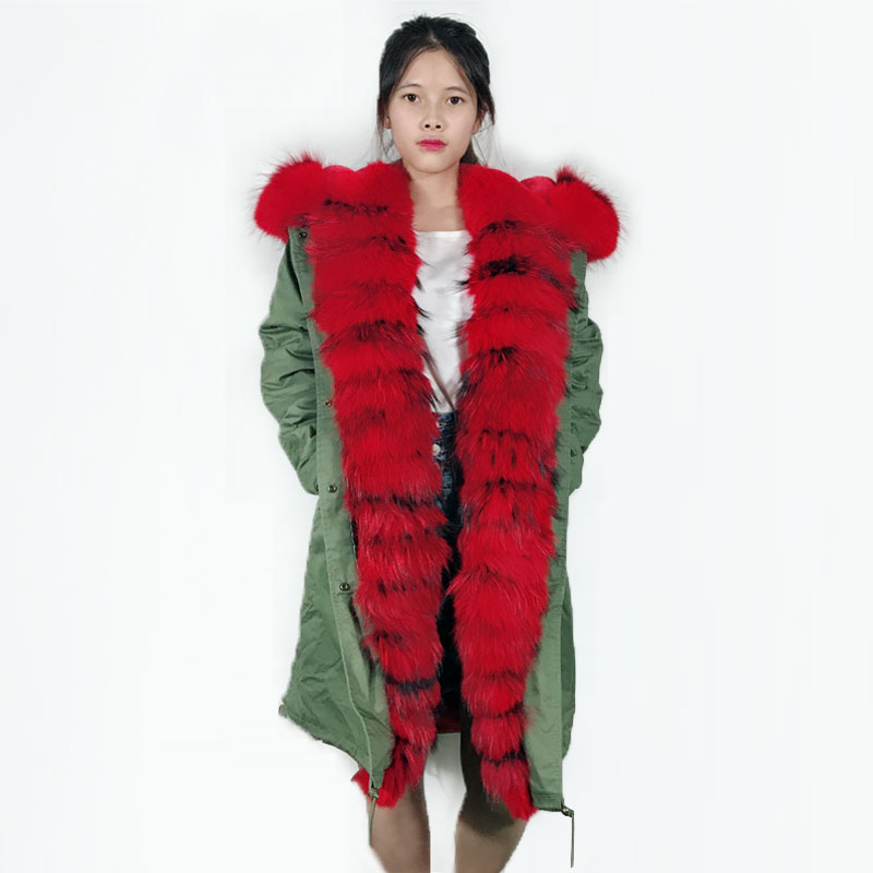 Grande Militaire Longue Parka Veste Luxe Rayures Vert Taille Rouge De Femmes Hiver gcwSZCqac