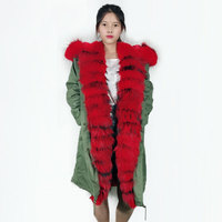 Winter Luxury Red Stripes Military Jacket Long Green Big Size Women Parka