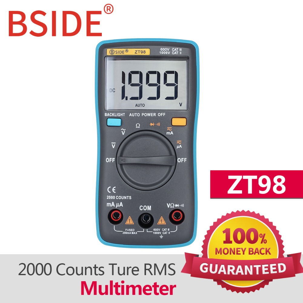BSIDE ZT98 Digital Multimeter 2000 counts Auto Range DMM Backlight AC/DC Ammeter voltage tester Voltmeter Ohm Portable Meter bside acm01 counts auto range 600a digital electrician clamp meter multimeter ac dc voltmeter ammeter resistance meter tester