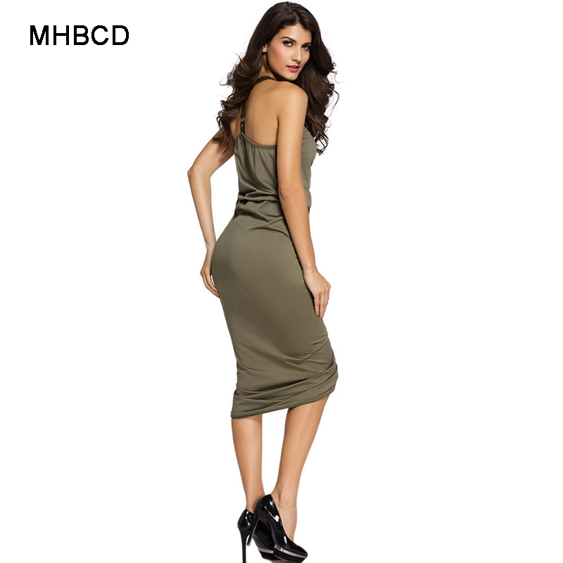 MHBCD Summer Halter Fold Sexy Club Dress Women V Neck Plus Size Party Beach  Office Bandage Dresses New 2017 Ukraine Clothes-in Dresses from Women s  Clothing ... 0a3ce6cb83de