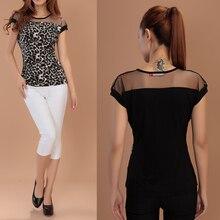 Sale Fashion Women Ladies Casual O-Neck Leopard Blouse Transparent Mesh Short Sleeve Slim 2 Colors