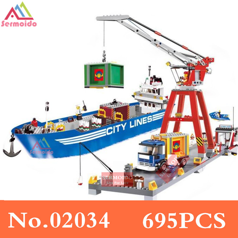 sermoido 02034 695pcs City Series Super Cargo Port Terminal Building Block Compatible With 7994 Brick Toy B191 цена и фото