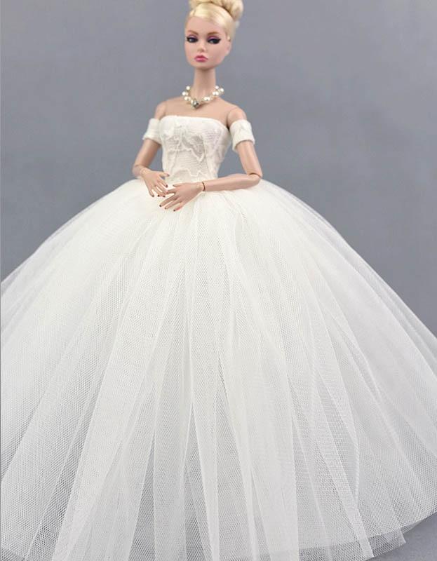 Pure white wedding dress para boneca barbie princesa roupas de festa aeproducttsubject junglespirit Images