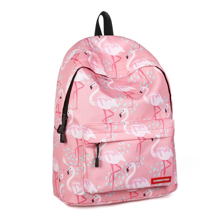 Casual Travel Backpack Women Lovely Flamingo Printing Backpack Teenage Gril Backpacks Large Capacity Ladies School Bags Rugzak in Backpacks from Luggage Bags