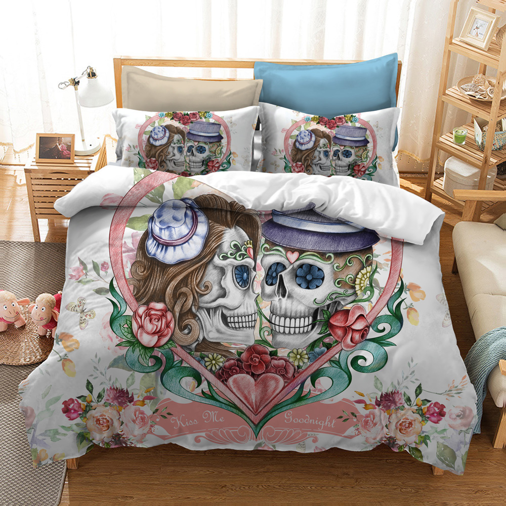 Fanaijia sugar flower Skull Bedding Sets queen size love Husband and wife skull Duvet Cover Bed