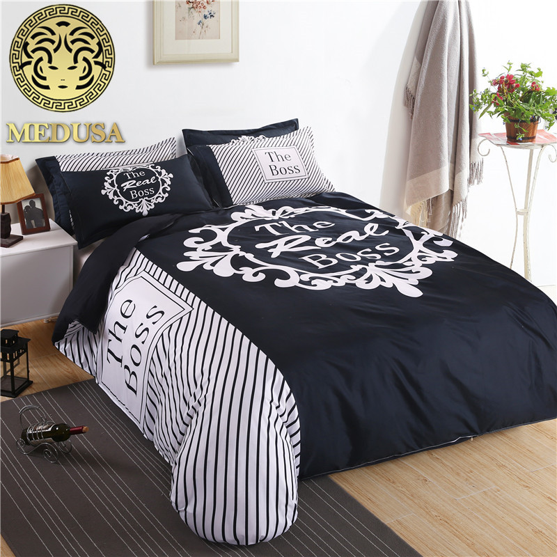 the boss black and white his/her side bedding set duvet cover bed sheet pillow case king queen size bed linen set 3/4pcs|bed linen set|bedding set|linen set - title=